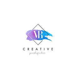 Vr artistic watercolor letter brush logo vector