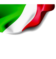 Waving flag of italy close-up with shadow on white vector