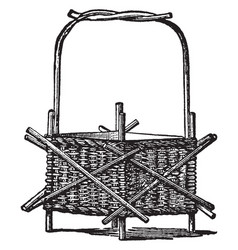 Wicker-work jardiniere used to hold decorative vector