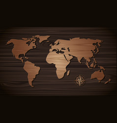 world map wooden on the wall wooden vector image