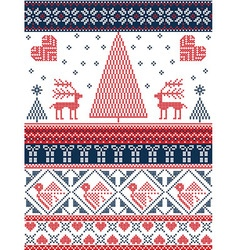 Xmas pattern with birds xmas trees in red and dark vector