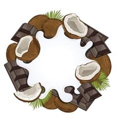 Yogurt splash isolated on chocolate and coconut vector image
