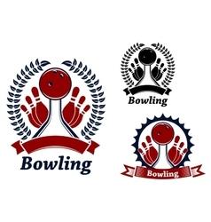 Bowling game sporting emblem or symbol vector image vector image