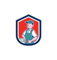 Bricklayer mason plasterer shield cartoon vector