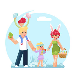 Easter family eggs collecting finding searching vector