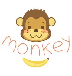 head cute cartoon monkeys and banana vector image vector image