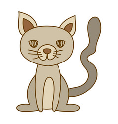 light colored hand drawn silhouette of cat sitting vector image