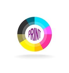 Print shop round logo template vector image vector image