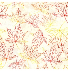 Seamless pattern with watercolor maple leaves vector image vector image