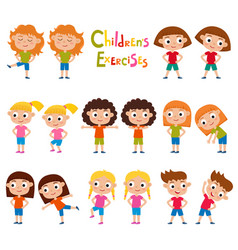 set of girls in exercises poses isolated on vector image vector image