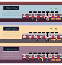 Set of Subway train banners vector image vector image