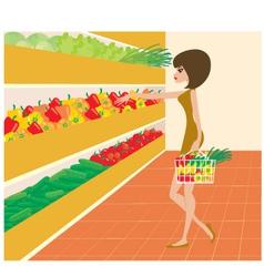 woman in a supermarket vector image vector image