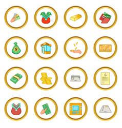 Bank loan credit icons circle vector