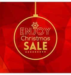 Christmas sale ball card abstract red background vector image