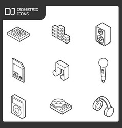dj outline isometric icons vector image