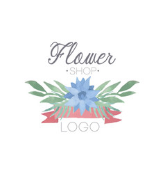 flower shop colorful logo label or badge in vector image vector image