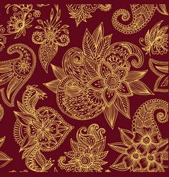 Henna mehndi flower template seamless vector