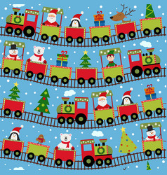 seamless pattern train with christmas characters vector image