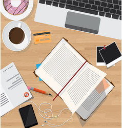 Top view of desk office desk with digital devices vector