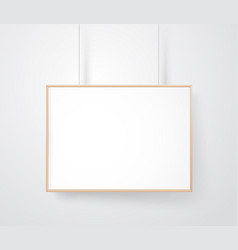 blank wood frame on the wall mockup ready for a vector image
