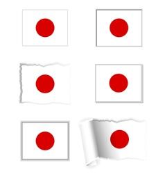 Japan flag set vector image