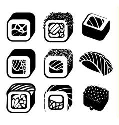 monochrome japanese food color cartoon style vector image