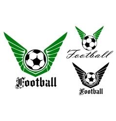 Winged football or soccer emblem vector image
