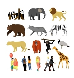 Zoo animals isolated on white background vector image