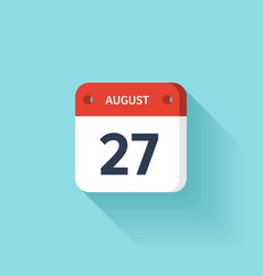 August 27 Isometric Calendar Icon With Shadow vector image vector image