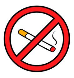 badge no smoking icon cartoon vector image