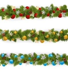 Christmas Borders Set 4 vector image vector image