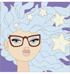girl with blue hair wearing glasses vector image