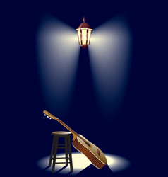 guitar in the street lantern vector image