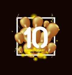 10 year anniversary white gold balloon template vector