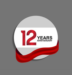 12 years anniversary design in circle red ribbon vector