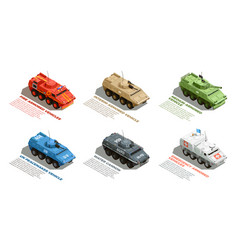 Army military vehicles isometric set vector