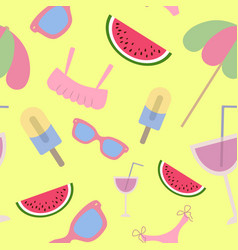 beach seamless pattern summer accessories on vector image