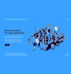 best business solutions isometric landing page vector image