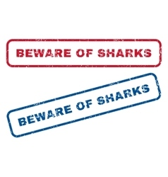 Beware Of Sharks Rubber Stamps vector image