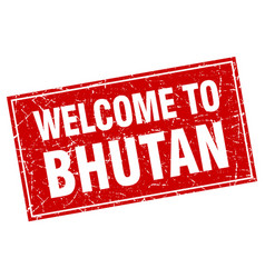 Bhutan red square grunge welcome to stamp vector