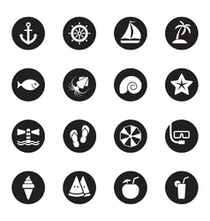 black flat beach and summer icon set vector image