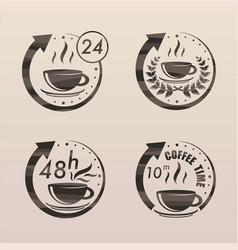 black tea time symbols set vector image