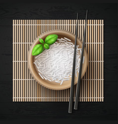 bowl full of rice grains vector image