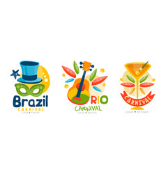 brazil carnival logo templates set colorful vector image