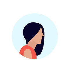 brunette woman profile avatar isolated female vector image