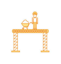 builder with wheelbarrow construction isolated vector image