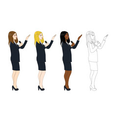 Business woman with microphone presentation side vector