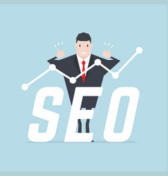 Businessman thumbs up with seo text vector