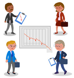 businessmen with bad graph vector image vector image