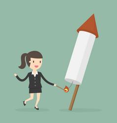 businesswoman launching firework rocket vector image